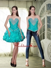Cheap Mini Length Prom Dresses with Beading and Ruffles SJQDDT87004FOR