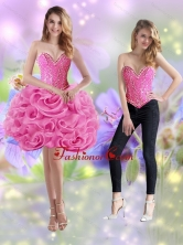 Detachable 2015 Short Sweetheart Rolling Flowers Rose Pink Prom Dresses SJQDDT18004FOR