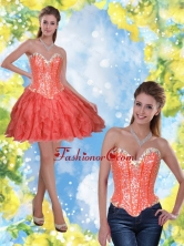 Detachable Short Beading and Ruffles Coral Red 2015 Prom Dresses SJQDDT23004-3FOR