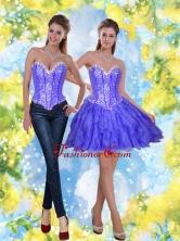 Detachable Short Beading and Ruffles Lavender Prom Dresses for 2015 SJQDDT23004-1FOR