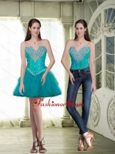 Discount Short Sweetheart Teal Prom Dresses with Beading SJQDDT86004FOR