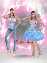 Dynamic Mini Length Beaded Baby Blue 2015 Prom Dresses for Cocktail SJQDDT40004-2FOR