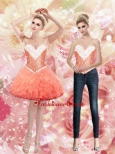 Exclusive Sweetheart Mini Length Watermelon Prom Dresses with Beading and Ruffles SJQDDT89004FOR
