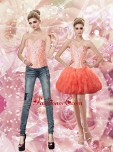 Latest Sweetheart Watermelon Prom Dresses with Beading and Ruffles SJQDDT67004FOR