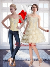 Natural Champagne Prom Dress with Beading and Ruffled Layers SJQDDT57004FOR