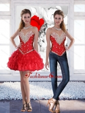 Red Short Sweetheart Pretty Prom Dresses with Beading for 2015 SJQDDT78004FOR