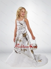 2015 Popular A Line Straps Camo Flower Girl Dresses with Brush Train Beading CMLD012FOR