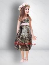 Cheap One Shoulder Tea Length Camo 2014 Flower Girl Dresses CMLD005FOR