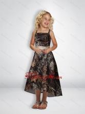 Elegant A Line Straps Tea Length Camo Flower Girl Dresses with Beading CMLD013FOR