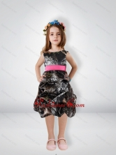 Fashionable Knee Length Camo Flower Girl Dresses with Sashes CMLD004FOR