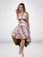 2015 Beautiful Multi Color High Low Camo Prom Dresses with Sashes CMPD026FOR