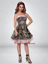 2015 Perfect Short Strapless Camo Prom Dresses with Ruching CMPD027FOR