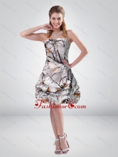 2015 Short Strapless Mini length Camo Prom Dresses with Ruching CMPD045FOR