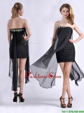 Best Selling Asymmetrical Column Prom Dress with Beaded Top and Ruching THPD095FOR