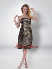 Decent Column Strapless Tea Length Camo Prom Dresses in Multi Color CMPD068FOR