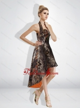 Fashionable High Low Halter Top Camo Prom Dresses in Multi Color CMPD039FOR