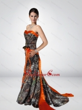 Luxurious Column Strapless Camo Prom Dresses with Hand Made Flower CMPD056FOR