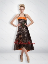 Romantic 2015 Empire Halter Camo Prom Dress with Tea Length CMPD014FOR