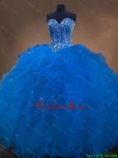 2016 Discount Sweetheart Beaded Blue Quinceanera Dresses with Ruffles SWQD050-1FOR