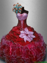 2016 In Stock Sweetheart Quinceanera Gowns in Wine Red SWQD031-5FOR