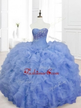 2016 New Style Blue Sweet 16 Dresses with Beading and RufflesSWQD068-3FOR