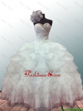 2016 New Style Sweetheart Ball Gown White Quinceanera Dresses with Beading and Ruffles SWQD019FOR
