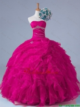 2016 Summer Perfect Strapless Beaded Quinceanera Gowns in Fuchsia SWQD011-4FOR