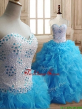 Affordable Baby Blue Big Puffy Quinceanera Dress with Beading and Ruffles SWQD148FOR