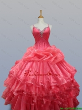 Beautiful Beading and Ruffled Layers Straps Quinceanera Dresses for 2015 Fall SWQD003FOR