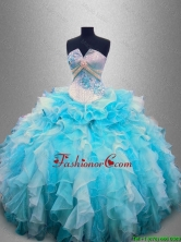 Beautiful Strapless Beading and Ruffles Quinceanera Gowns in Organza SWQD025FOR