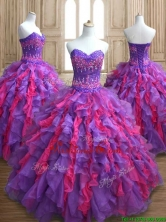 Cheap Applique and Ruffled Quinceanera Dress in Purple and Hot Pink SWQD136FOR