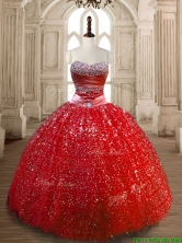 Classical Ball Gown Red Sweet 16 Dress with Beading and Sequins SWQD172-3FOR