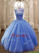 Classical Scoop Beaded Tulle Sweet 16 Dress in Blue SWQD169-1FOR