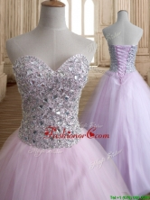 Discount Beaded Bodice Tulle Quinceanera Dress in Baby Pink SWQD140FOR
