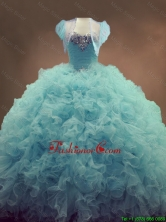 Discount Beaded and Ruffles Quinceanera Gowns in Light Blue SWQD053FOR