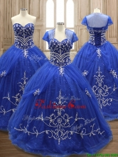 Elegant Applique Royal Blue Sweet 16 Dress with Brush Train SWQD137FOR