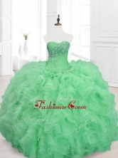 Elegant Beading and Ruffles Sweetheart Quinceanera Dresses in GreenSWQD068-1FOR