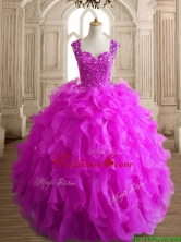 Elegant Straps Big Puffy Quinceanera Dress with Beading and Ruffles SWQD152-2FOR