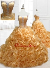 Elegant Sweetheart Rolling Flowers Brush Train Quinceanera Dresses with BeadingSWQD058FOR