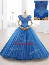 Exclusive Appliques Off the Shoulder Sweet 16 Dresses in BlueSWQD061AFOR
