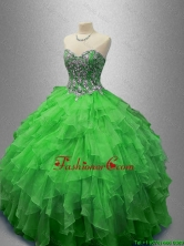 Fashionable Beaded Sweetheart Quinceanera Dresses in Green SWQD029-4FOR