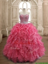 Fashionable Beaded and Ruffled Coral Red Quinceanera Dress in Organza SWQD156-4FOR