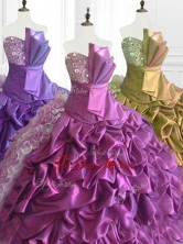 Fashionable Strapless Pick Ups Quinceanera Dresses with Sequins and RufflesSWQD073FOR