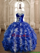 Gorgeous Beaded Bust and Ruffled Quinceanera Dress in Blue and White SWQD173-2FOR