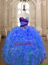 Hot Sale Beaded and Ruffled Organza Quinceanera Dress in Blue SWQD175-1FOR