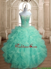 Inexpensive Beaded and Ruffled Big Puffy Quinceanera Dress in Apple Green SWQD155-2FOR