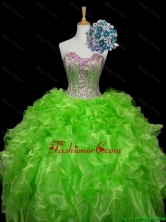 Luxurious 2016 Fall Ball Gown Apple Green Quinceanera Dresses with Sequins and Ruffles SWQD006-9FOR