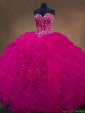 Luxurious Sweetheart Beaded Quinceanera Dresses in Hot Pink SWQD050-5FOR