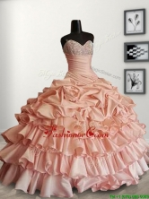Modest Peach Sweet 16 Dress with Beading and Ruffled Layers SWQD097FOR