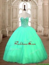 Modest Tulle Beaded Sweet 16 Dress in Turquoise SWQD167-6FOR